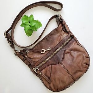 Fossil Brown Leather Adjustable Crossbody Bag